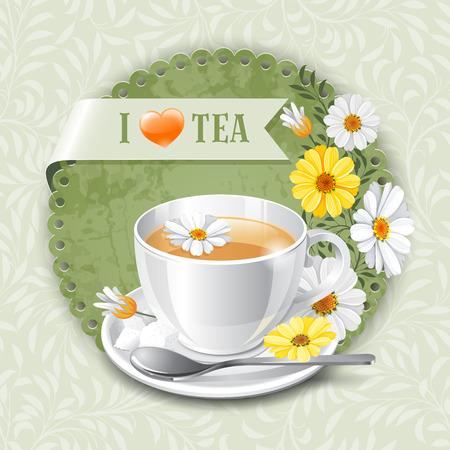 camomile tea: Tea card template for restaurant, cafe, bar Illustration