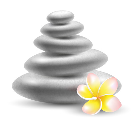 stones with flower: Spa still life with stones and frangipani flower. Vector illustration. Illustration