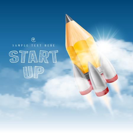 school strategy: Rocket launch. Creative start up poster. Vector illustration.
