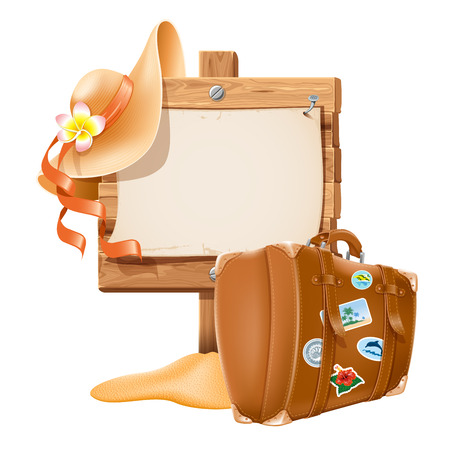 bonnet illustration: Vector illustration with retro travel suitcase and beach hat