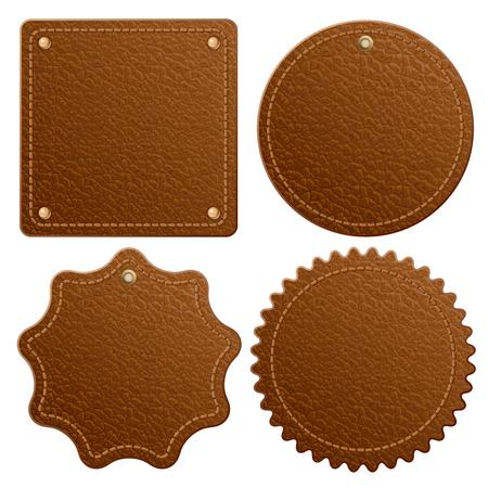 Set of brown leather label. Isolated on white background. Ilustração Vetorial