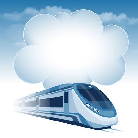 the high speed train: Passenger high speed train moving under the blue sky and white clouds. There is a place for your text.