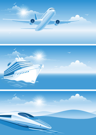 Travel banners on transportation theme Illustration