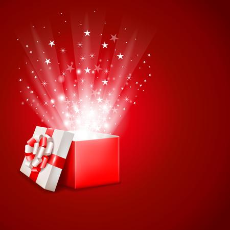 Open magic gift box with shine