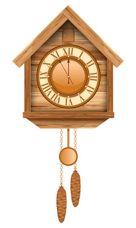 reloj cucu: reloj de cuco de madera de época. Aislado en el fondo blanco.