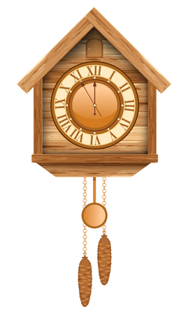 Vintage wooden cuckoo clock. Isolated on white background.