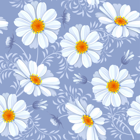 Retro flower seamless pattern - daisy. Vector. Easy to edit.