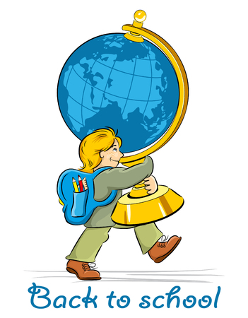 first grader: schoolboy with a big globe goes to school Illustration
