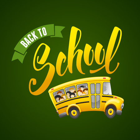 pupil's: Back to school calligraphy inscription and cute cartoon school bus with pupils. Hand drawn lettering. Vector illustration.