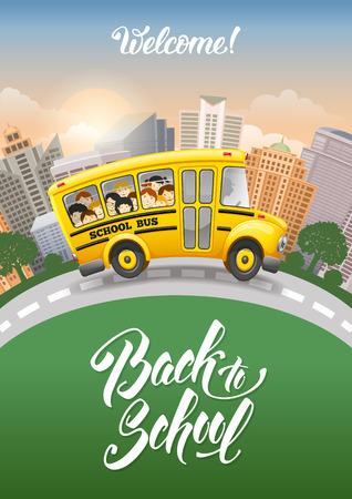 Volver a la inscripción de la escuela y del autobús escolar lindo del dibujo animado con los alumnos alegres. ciudad moderna en el fondo. Dibujado a mano las letras. Ilustración del vector. Ilustración de vector