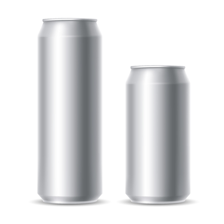ml: Set of realistic metallic beer cans. Blank beer cans, ready for new design. 500 and 300 ml. Isolated vector illustration