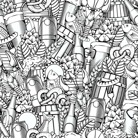 brewery: Beer Seamless Pattern in Outline Hand Drawn Doodle Style with Different Objects on Beer Theme. Beer and Snack. Black and White. All elements are separated and editable.  Vector Illustration.