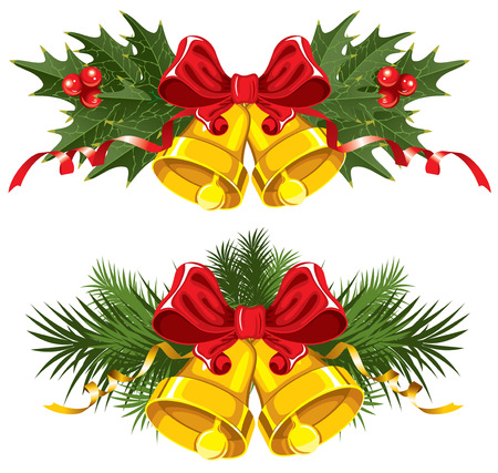 green lantern: Golden Christmas Bells with red bow Illustration