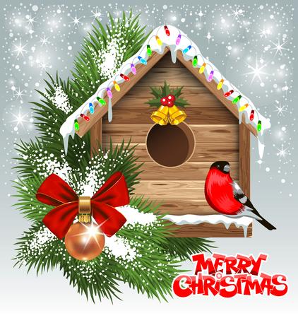 木製の巣箱とクリスマス グリーティング カード