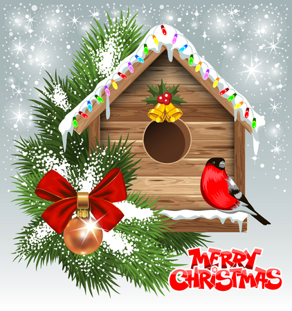 Christmas greeting card with wooden birdhouse Illustration