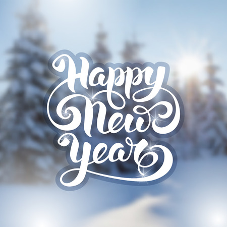 Happy New Year greeting card with the defocused snow-covered fir-trees in forest at sunrise. Vector illustration.