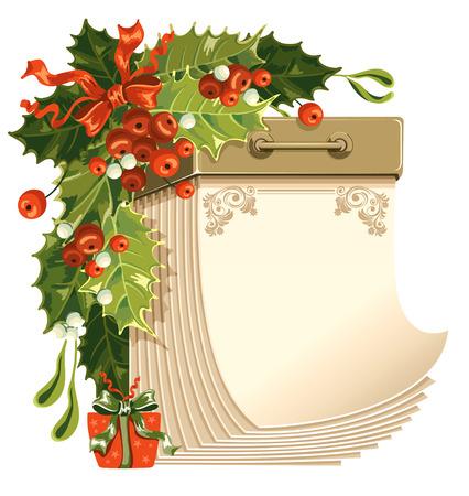 hollyberry: Christmas tear-off calendar with holly-berry and mistletoe Illustration