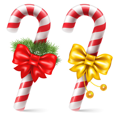 canes: Candy canes with christmas decoration, winter holidays symbol. Vector illustration. Isolated on white background.