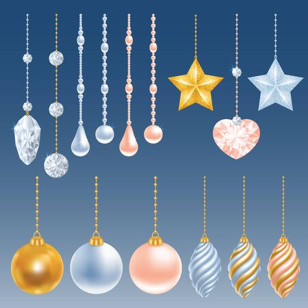 perl: Set of different christmas decorations. Perl, diamond, christmas balls, heart, stars. Vector illustration.