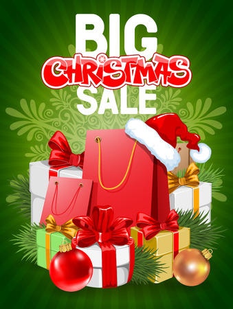 shopping sale: Bright advertising poster Big Christmas sale on green background with festive decorated gift boxes and shopping bags