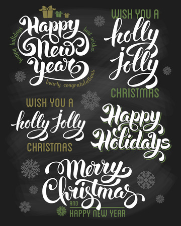 holidays: Hand drawn calligraphic letterings design set for winter holidays on chalkboard. Merry Christmas and Happy New Year. Vector illustration. Illustration