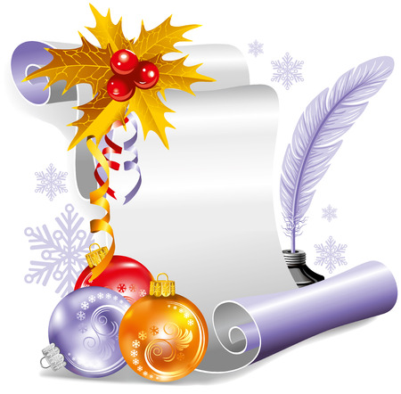 Old scroll for christmas invitation. Vector illustration. Vector Illustration