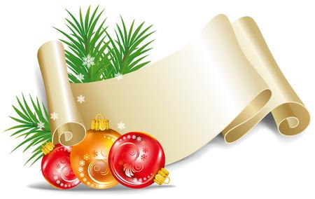 old scroll: Old scroll for christmas invitation. Vector illustration. Illustration