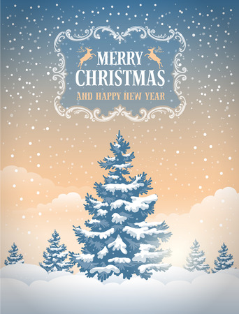 snowfall: Christmas greeting card with the non-urban landscape and snowfall. Detailed vector picture.