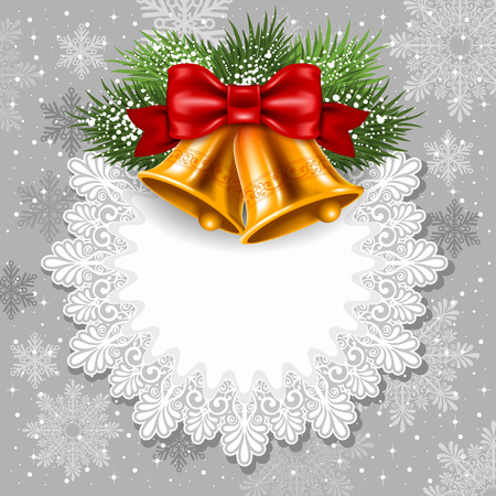 Merry Christmas card with golden jingle bells