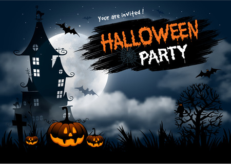 Halloween night background with pumpkin, haunted house and full moon. Flyer or invitation template for Halloween party. Vector illustration. Stock Illustratie