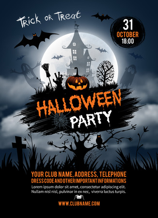 vertical de fondo de Halloween con calabazas, casa encantada y la luna llena. Volante o invitación de la plantilla para la fiesta de Halloween. Ilustración del vector.