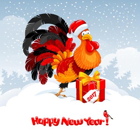 Kerstmis en Nieuwjaar wenskaart met vrolijke haan in kerstmuts met grote gift op besneeuwde winterlandschap. Haan - symbool van het jaar 2017. Vectorillustratie. Stock Illustratie