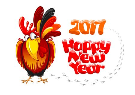 Christmas and New Year greeting card with cheerful rooster with lettering inscription Happy New Year and 2017 digits, isolated on white background. Rooster - symbol of year 2017. Vector illustration. Illustration