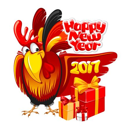 zodiak: Christmas and New Year greeting card with cheerful rooster with big gift isolated on white background. Rooster - symbol of year 2017. Vector illustration.