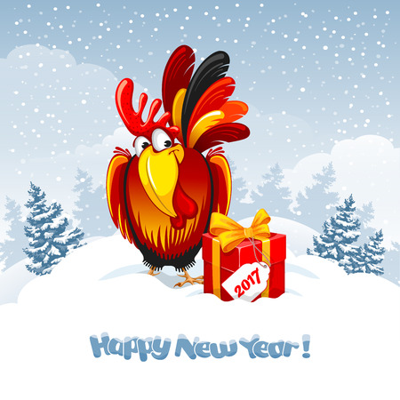 Christmas and New Year greeting card with cheerful rooster with big gift on snowy winter landscape. Rooster - symbol of year 2017. Vector illustration. Illustration