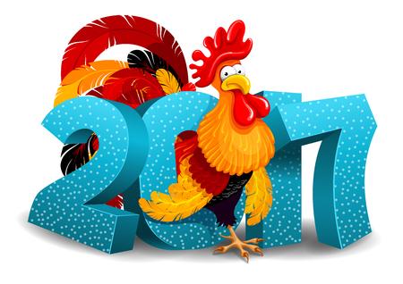 Vrolijke vectorillustratie van cartoon Haan en 2017 cijfers. Nieuwjaars begroeting. Haan is een sterrenbeeld van 2017 jaar door Oost-kalender. Geïsoleerd op witte achtergrond