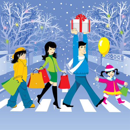 family holiday: happy family makes purchases for the holiday. Vector editable.
