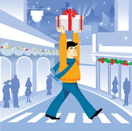 bought: happy young man bought a holiday gift. Vector.