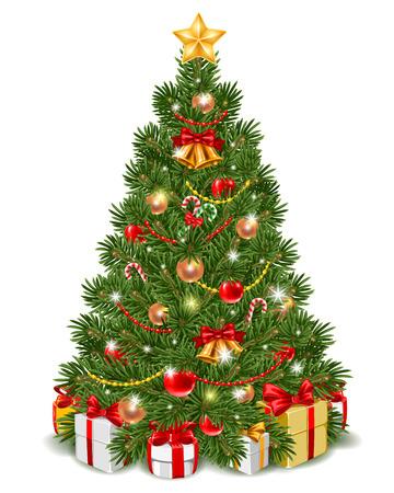 árbol de Navidad decorado por esponjoso bolas de navidad, cascabeles y caña de azúcar. cajas de regalo están bajo el abeto. Aislado en el fondo blanco. Ilustración del vector.
