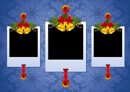 christmas photo frame: Three Christmas Photo Frame with golden bells Illustration