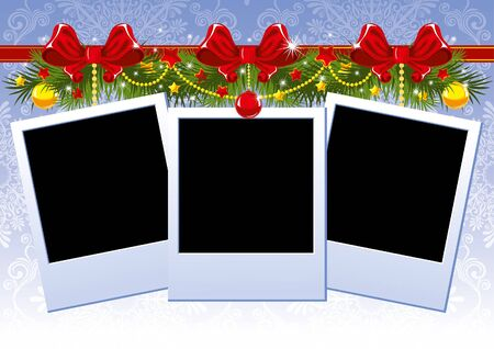 christmas photo frame: Three Christmas Photo Frame with red bow