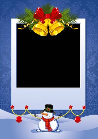 christmas photo frame: Three Christmas Photo Frame with golden bells and snowman