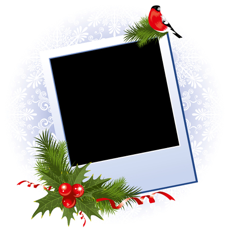 christmas photo frame: Three Christmas Photo Frame with holly berry Illustration