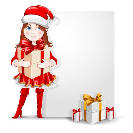 Cute cheerful cartoon girl in the Christmas costume with a many gifts and banner for your congratulation. Vector illustration. Illustration