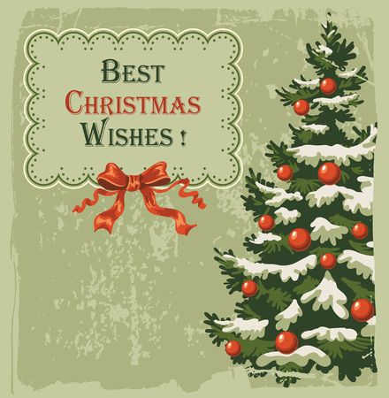 spruce: Vintage Christmas card with decorated spruce