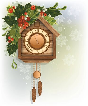 reloj cucu: Christmas background with wooden cuckoo clock