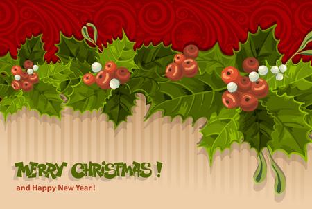 Weinlese-Weihnachtskarte mit Holly Berry Vektorgrafik