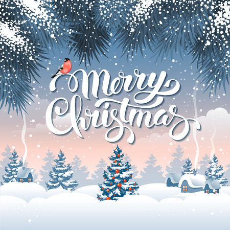 chalet: Christmas greeting card with calligraphic inscription Merry Christmas on winter snowbound landscape. Vector illustration.