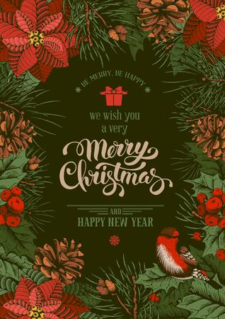 ビンテージ ベクトル カード クリスマスに刻まれたスタイルのモミの木、ポインセチア、fir コーンで手書き。ホーリーベリーの枝に鳥。非常にメリー クリスマスを願って!
