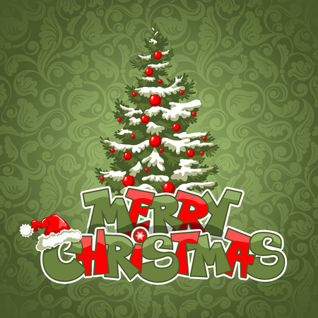 firtree: Merry Christmas, original and cheerful lettering and decorated fir-tree on the holiday background Illustration